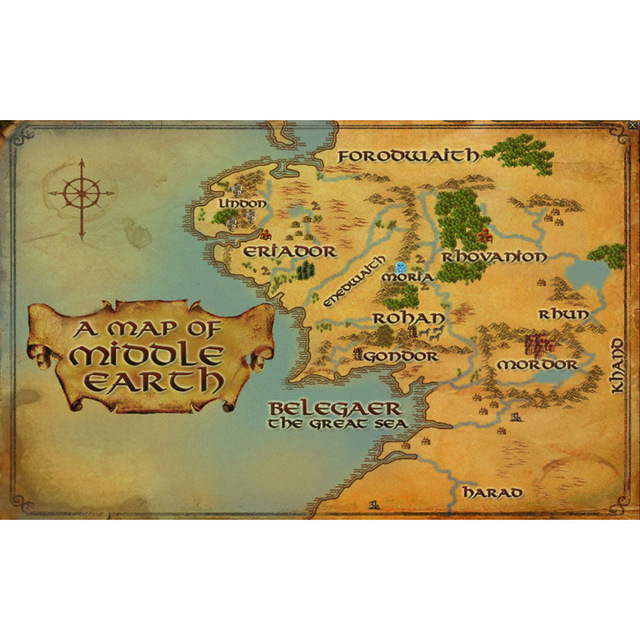 J0571 Map of Middle Earth Lord Of The Ring Pop 14x21 24x36 Inches ...
