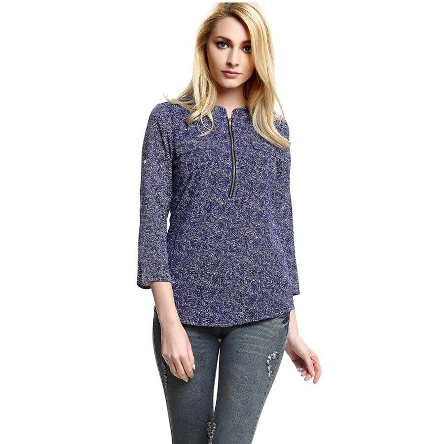 f944070770f9f Autumn Camisas Femininas baratas 2016Long Sleeve Printing O-Neck Women  Blusas Plus Size Vintage Women Blusa Blouses Zipper Tops