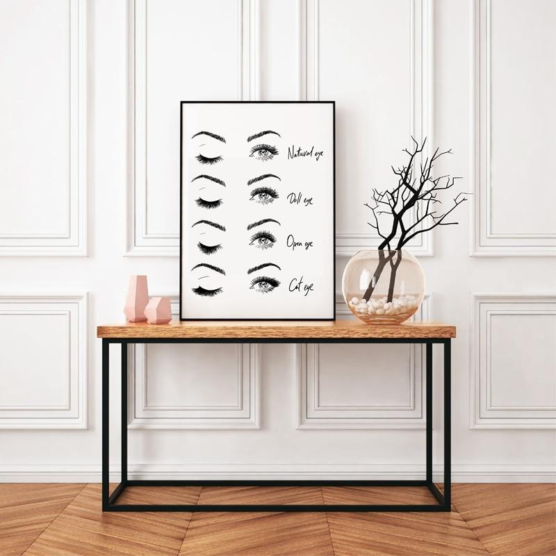 HTB1lg3GaL1G3KVjSZFkq6yK4XXai Modern Fashion Eyelash Extensions Prints Makeup Wall Art Canvas Painting Picture Nordic Poster Beauty Salon Decor Girls Gift