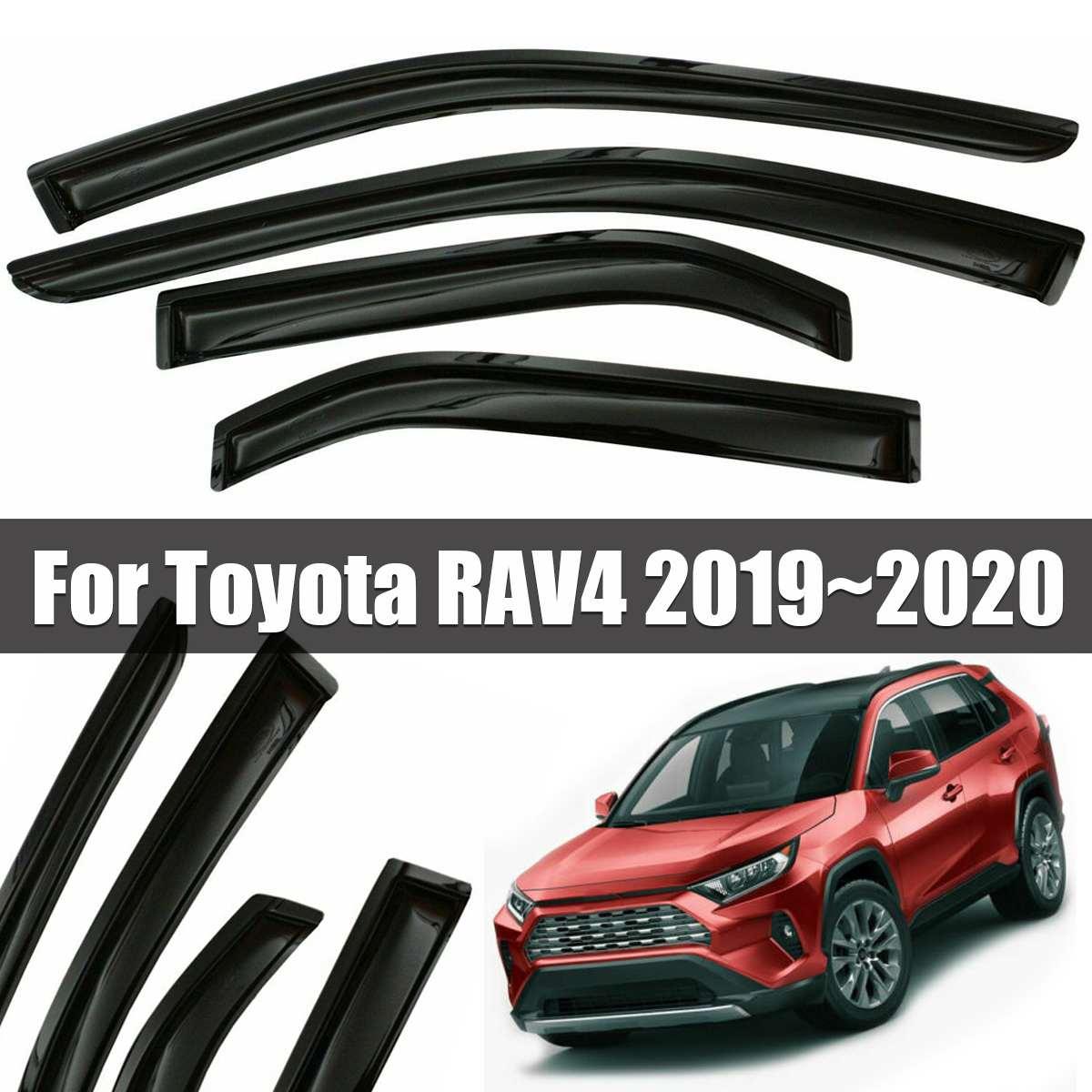 4 pièces fenêtre visière déflecteur garde-pluie garnitures chromées Vent pare-soleil déflecteurs pour Toyota RAV4 2019 ~ 2020