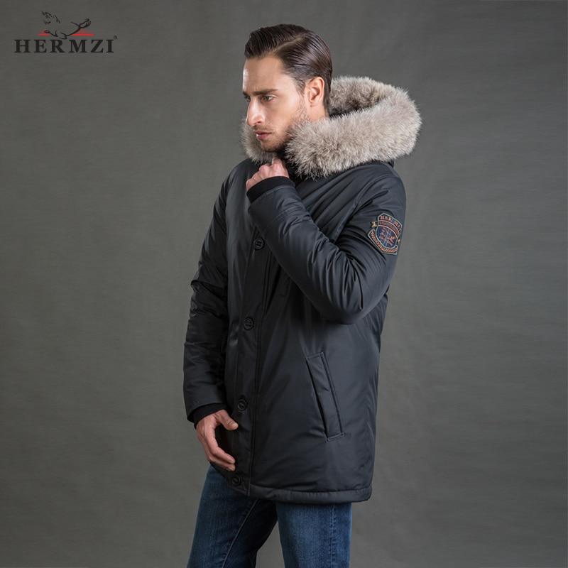 HERMZI 2019 Men Winter Coat Parka Long Coat Thicken Men Winter Jacket Mens Parka Jacket Detachable Hood Fur Collar Plus Size 4XL