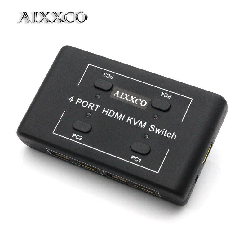 Коммутатор AIXXCO HDMI KVM, 4 порта, 4 устройства для совместного использования клавиатуры, мыши, принтера, выбора монитора, переключатель HDMI KVM