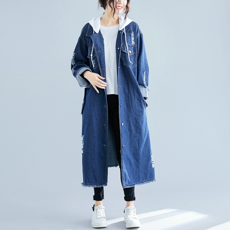 SuperAen Korean Style Denim   Trench   Coat for Women Casual Autumn and Spring New Ladies Windbreaker 2019 Hooded Women Clothing