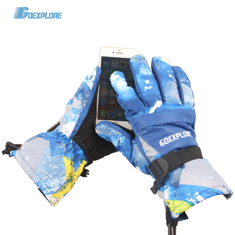 Goexplore Ski Gloves Men Touch Screen Waterproof Winter Warm Bicycle Motorcycle Thermal Fleece Snowboard Snow Gloves Women