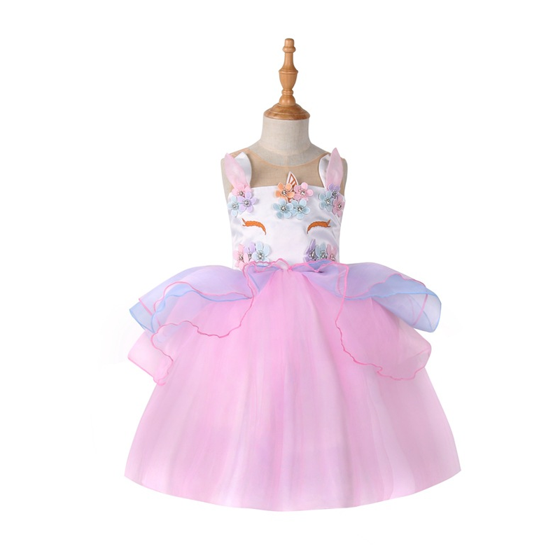 Kids Unicorn Costume Dress Girl Princess Flower Pageant Party Tutu Dresses Evening Gowns Baby Girl Unicornio Wedding Dress 3-8Y rhinestone princess sofia white top flower lavender skirt baby girl costume 1 8y mg1320