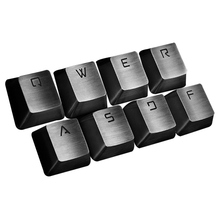[HFSECURITY] Mechanical Keyboard 8 Metal Backlight Keycaps Q W E R A S D F Stainless Steel Keycap for MX Click