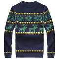 Fashion Mens Sweaters Pullover Jumpers European Style Slim Jacquard Christmas O-Neck Long Sleeve Knit Man Casual Clothing M-XXL