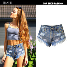 HANLU High Waist Jeans Rivet Ripped Shorts Hot Sexy Street Style Vintage Frayed edge Bleached Mujer Vaqueros