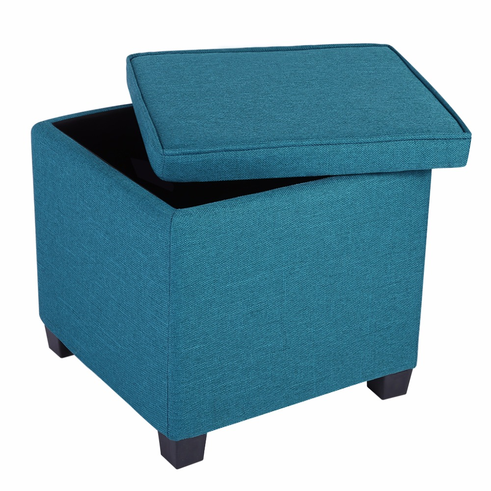 LANGRIA Square Linen Upholstered Storage Ottoman Foot Rest Stool Seat with  Legs Peacock Blue(China - Online Get Cheap Square Storage Ottoman -Aliexpress.com Alibaba