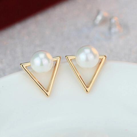 EB035 Girls fashion personality triangle imitation pearl stud earrings for Women jewelry