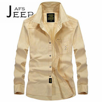 AFS JEEP Wholesale Price Man S Leisure Cotton Long Sleeve Shirts 2017 Fall Ventilate Chemise Homme