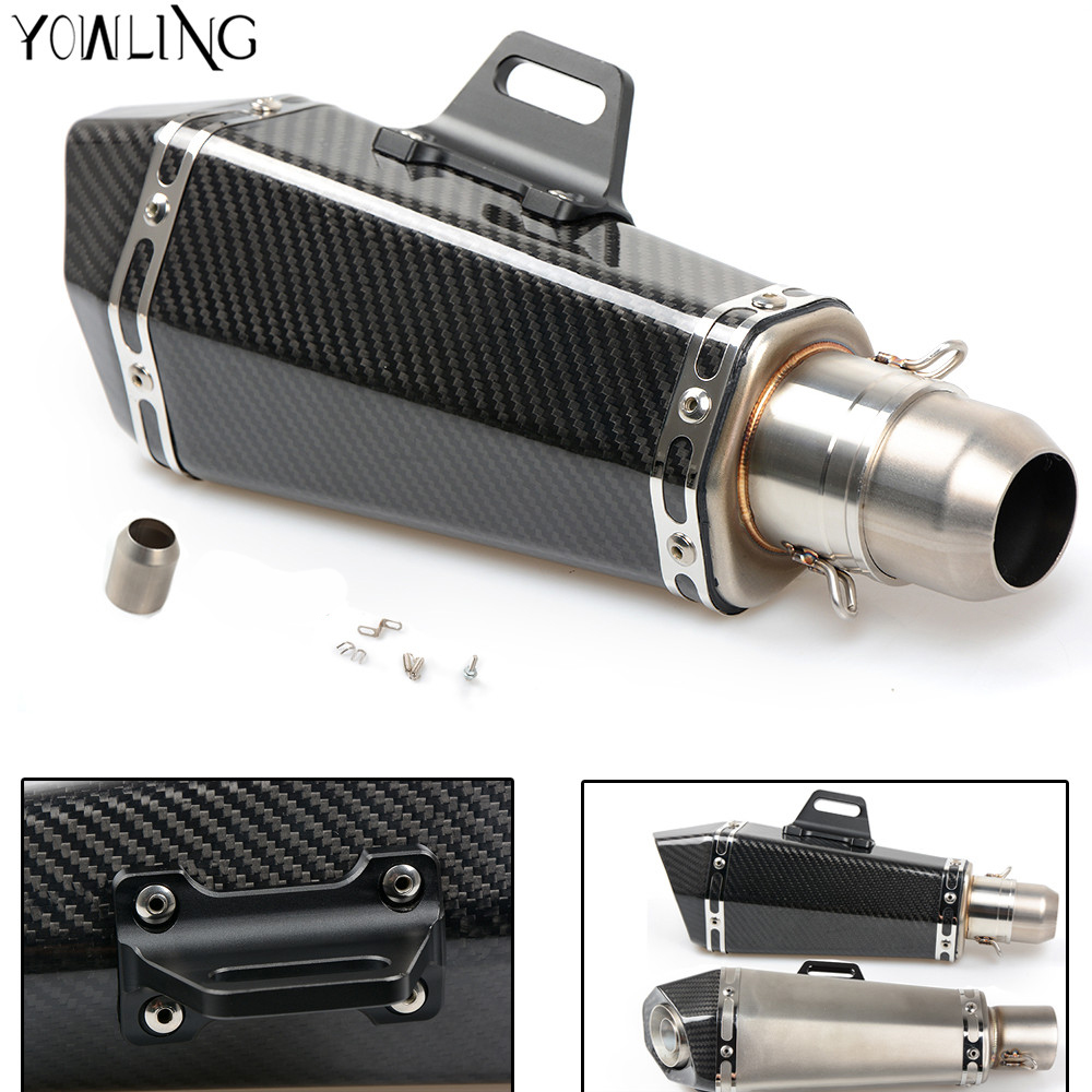 Motorcycle Real carbon fiber exhaust Exhaust Muffler pipe FOR Honda CB600F CBR600 F CBR600RR CBR1100RR HORNET 250 600 900 CB400 motoo universal new motorcycle carbon fiber exhaust scooter modified exhaust muffler pipe for honda cbr600rr
