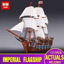 Новый Лепин 22001 пиратский корабль военных кораблей Модель Строительство комплекты блок брики игрушки 1717 шт. совместим с 10210 Детский подарок
