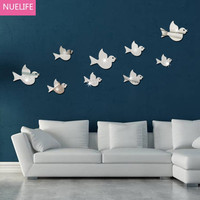 9pcs flying bird pattern mirror wall stickers children's living room bedroom TV sofa background wall decoration stickers