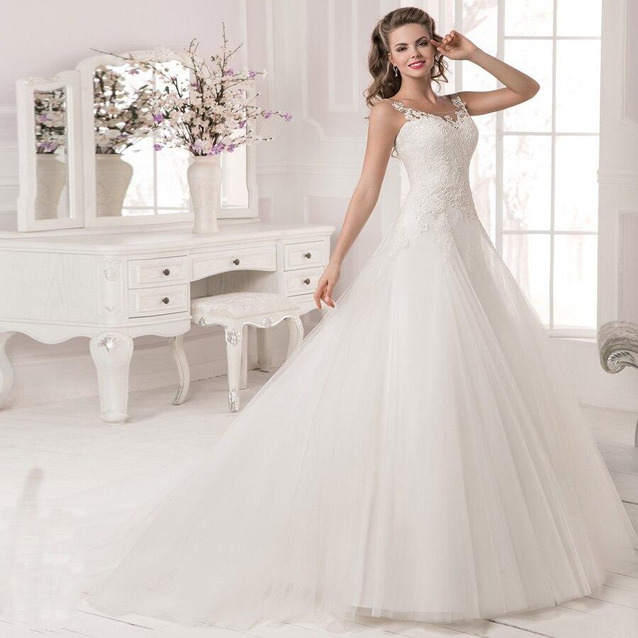 2019 Eleagnt Scoop Neck Lace Wedding Dress Bridal Gown Sleeveless Beading Applique Tulle Wedding Dresses Vestido