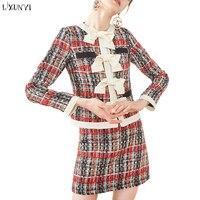 LIXUNYI осенний твидовый костюм юбка Новая мода Короткие клетчатые топы с круглым вырезом и бантом и сексуальные мини юбки на молнии комплект и