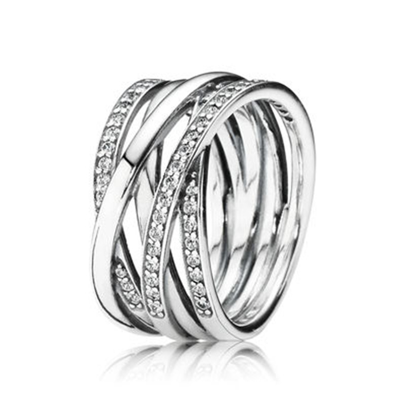 New Authentic 925 Silver Eternity Entwined Silver & Zirconia Ring For Women Wedding Engagement Ring Fine Pandora Jewelry Gift(China)