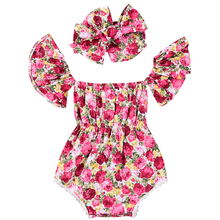 2018 Cute Newborn Baby Girls Floral Flower Summer Sleeveless Cotton Bodysuit Jumpsuit Playsuit Sunsuit Outfits