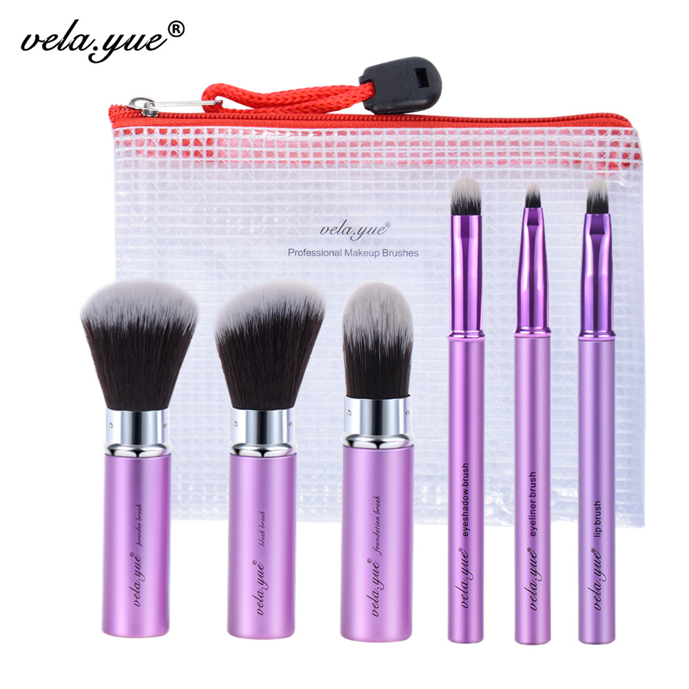 vela yue Makeup Brush Set 6pcs Travel Beauty Tools Kit Retractable with Cover and Case