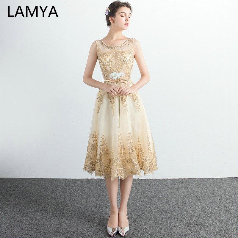 LAMYA 2019 Tulle Tea Length   Prom     Dress   Sleeveless Crystal Evening Party Gown Elegant Zipper Backless Vestidos De Novia