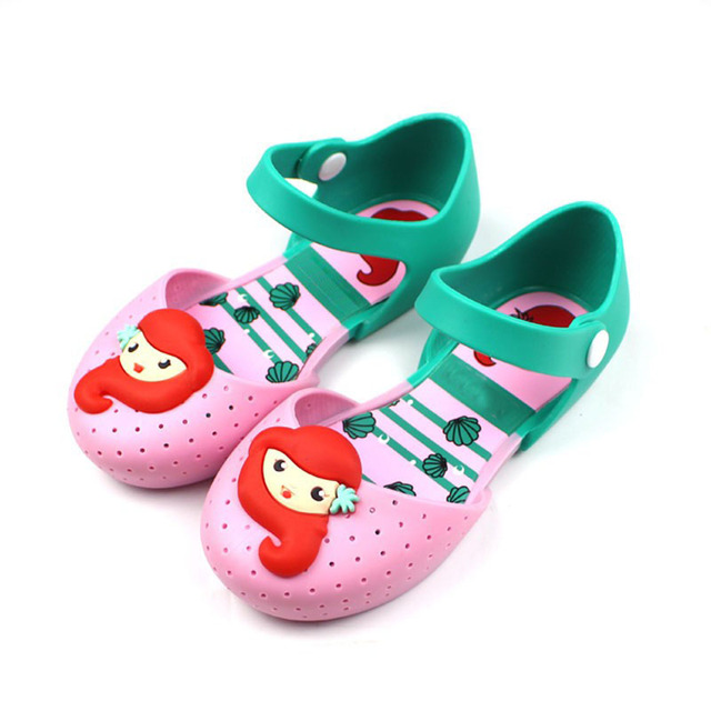 f155fca9a60d95 Children Shoes Girls Shoes Brand Summer Autumn Fashion Little Mermaid  Princess Sandals Kid Designer Single Sandals