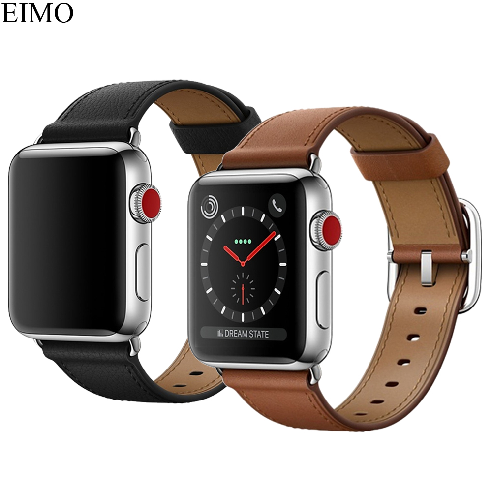 EIMO Genuine Leather Strap for Apple Watch Band 42mm 38mm Classic Metal Buckle Wrist Belt Watchband for iwatch series 3/2/1 все цены