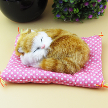 Simulation yellow cat polyethylene&furs cat model funny gift about 15cmx12cmx5cm