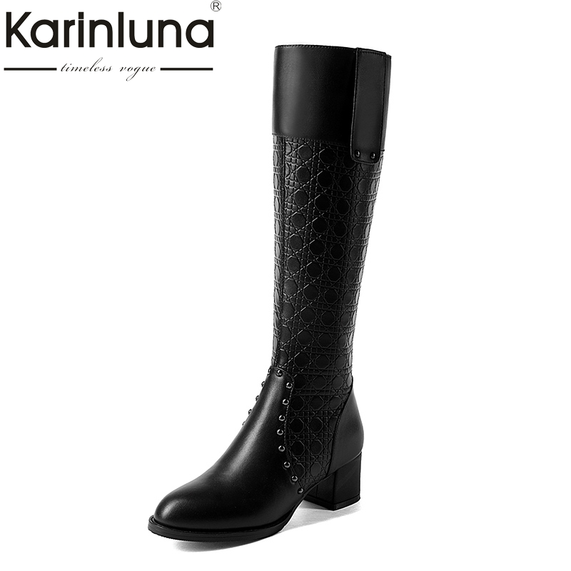 KARINLUNA top quality size 34-41 genuine leather knee high boots women shoes fashion square heels black cow leather shoes woman karinluna 2018 top quality size 33 41 brand shoes women knee high boots genuine leather square heels riding boots woman shoes