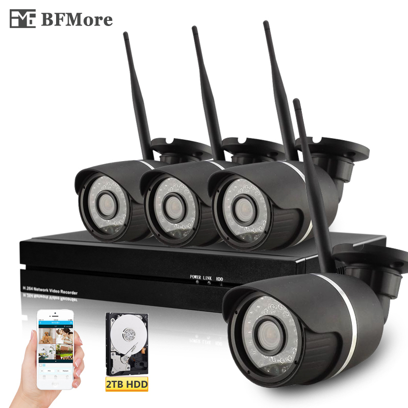 BFMore 4ch Sony 1080P Aduio Wireless Kit 2MP Full-HD Wifi IP Camera 8ch NVR CCTV System Security Monitor Video Surveilence Set bfmore wireless audio 720p 960p 1080p 2mp ip camera sony vandal proof wifi cctv cam security video surveilence monitor camhi