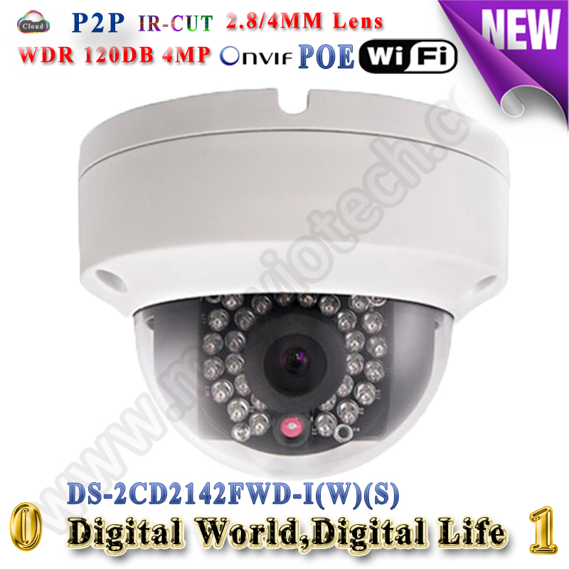 4MP DS-2CD2142FWD-IWS wireless IP camera POE wi-fi outdoor waterproof IP66 wdr 120db Onvif TF card alarm audio Network camera
