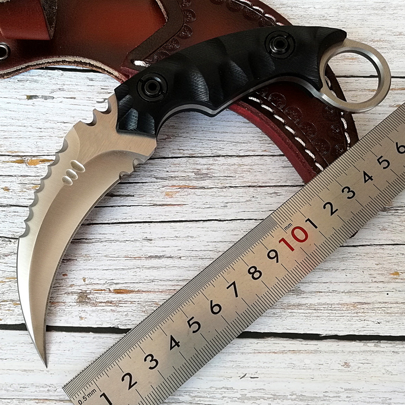 top tactical karambit knife D2 Steel Survival Tool Outdoor fixed blade knives G10 handle Leather sheath