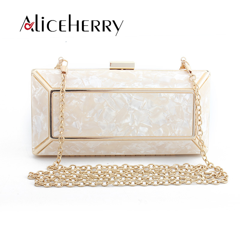 Fashion Ladies Party Purse Clutches Women Evening Bags Chain Shoulder Bag Black Pink Acrylic Box Clutches Evening Wedding Bags