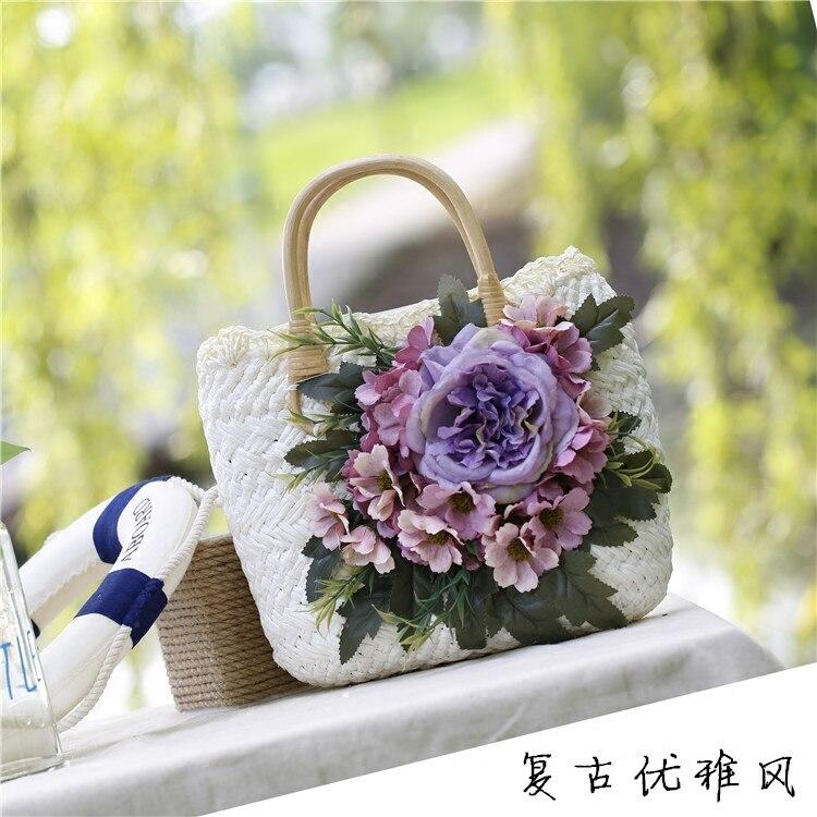 2017 new handbag female summer seaside resort beach bag bales of straw bag retro tourism woven bags