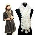 2014 женщины зима настоящее кролика шарф леди повседневная Мех Шарфы 100% Шарика Шерсти бархатной Кролик длинная модель бесплатная доставка