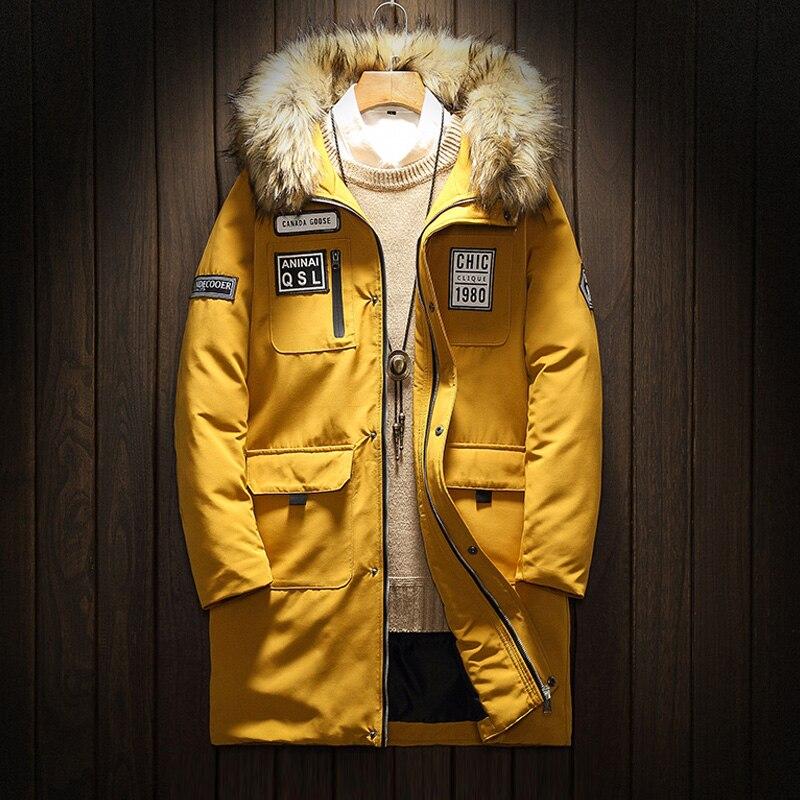 2018 Top qualité chaud hommes coton veste d'hiver hommes coupe-vent vêtements d'extérieur décontractés épais moyen Long manteau hommes Parka grande taille 5XL