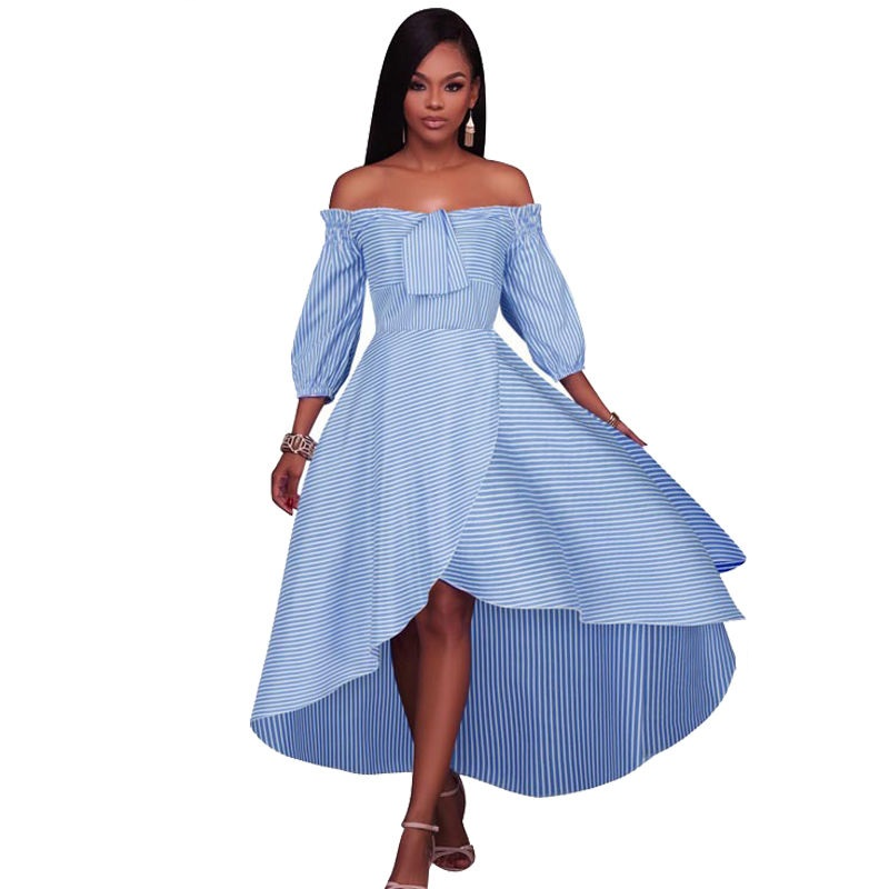 New Summer Women Vintage Off the Shoulder Dresses Casual ...