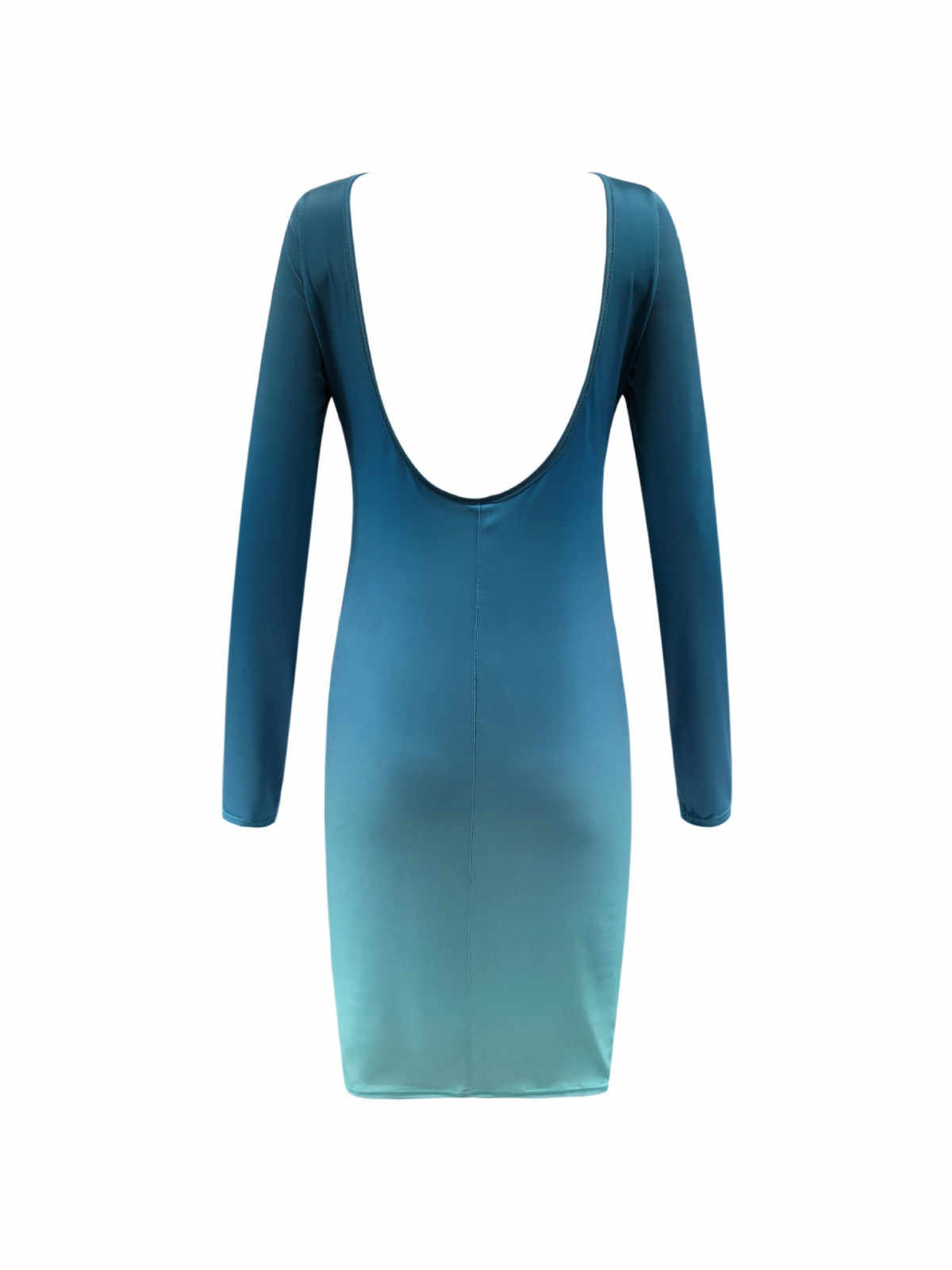 Damska gradientowa obcisła sukienka Vestido z długim rękawem Backless spódniczki damskie nad kolano panie Party Slim Mini sukienka плацие Женское # LR4
