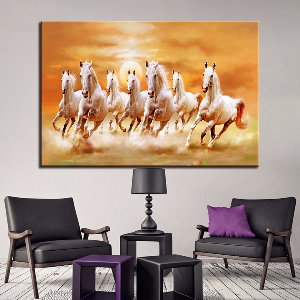 Embelish 1 Pieces Sunset Running Horses HD Wall Art Pictures For Living Room Canvas Animals Painting Home Decor Poster Framework