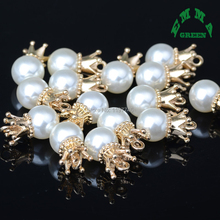 Gold Color Crown Pearl Pendant Handmade Charms Trendy Accessories for DIY Necklace Jewelry Making 10pcs 8mm 10mm 12mm 14mm 16mm