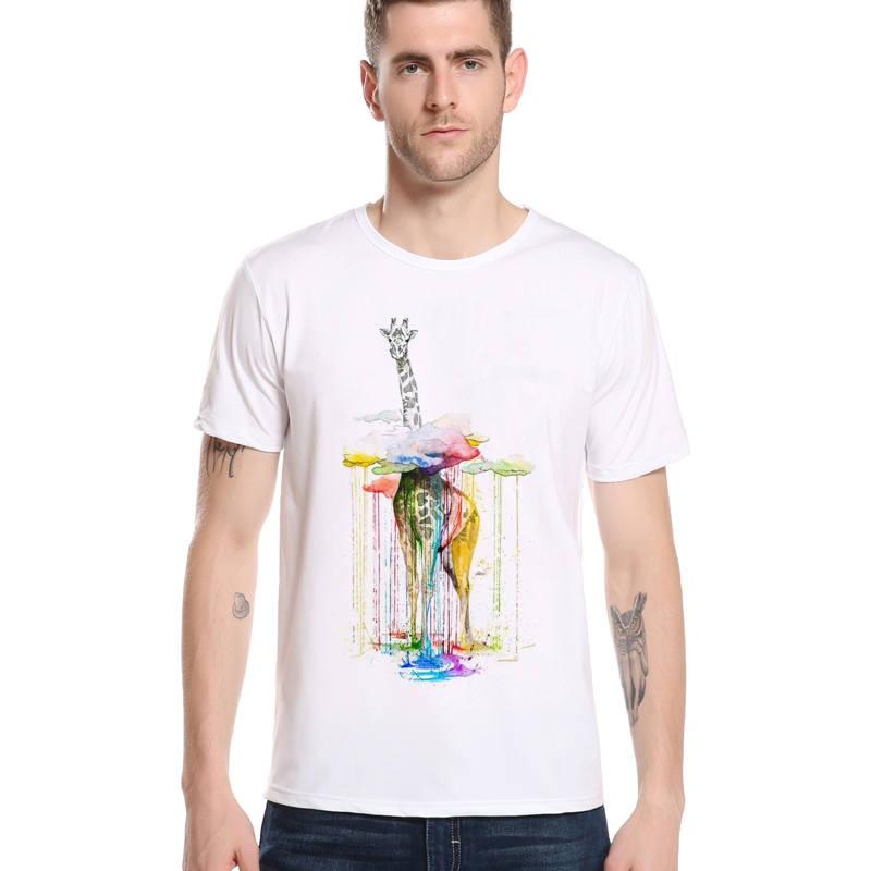 New Arrivals Giraffe Through Rainbow cloud Funny Printed T Shirts Summer Harajuku Boy Tee Shirt Hiphop Men Brand T Shirt L6-96