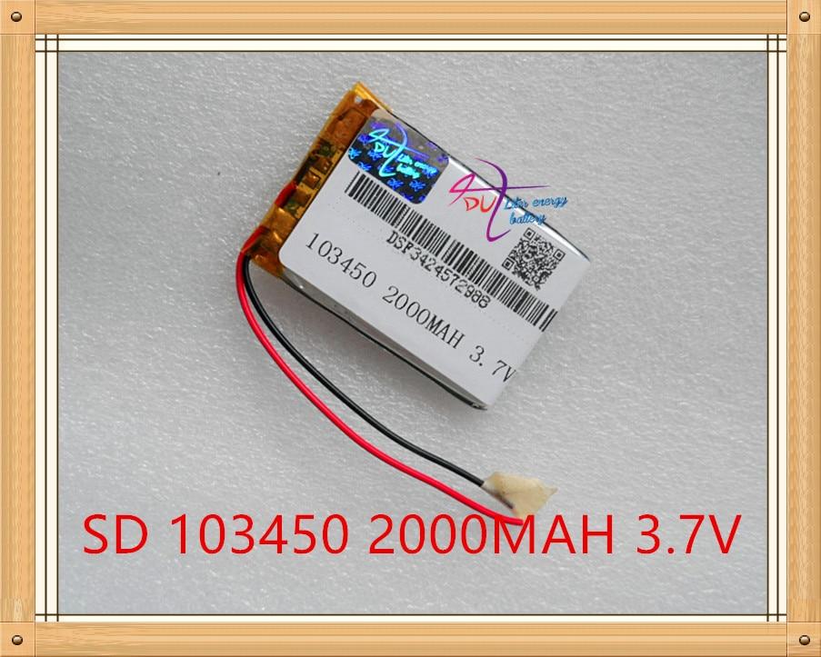 Liter Energy Battery 3.7v Lithium Polymer Battery 103450 2000mah Speaker Mp3 Gps Navigator Small Pudding Bag Mail free shipping 3 7 v lithium polymer battery gps navigation 505060 2000mah vx580le vx580r