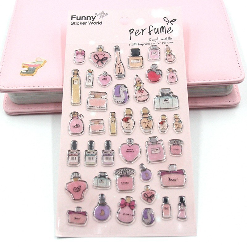 Three-dimensional Stereo French Perfume Diary Stickers Planner Sticky Notes Papeleria Children Decorate Stationery Sticker