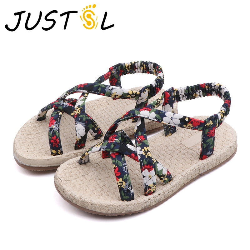 Shoes Kids Sandals Woven Girls Summer Children Non-Slip 26-36 Floral Straps Soft-Bottom