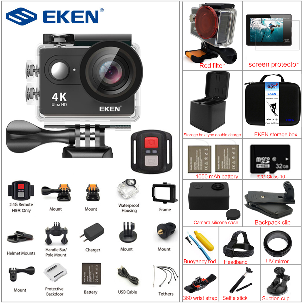 EKEN Action Camera eken H9R / H9 Ultra HD 4K WiFi 1080P/60fps Remote Control Sports Video Camcorder DV go Waterproof pro Camer battery dual charger bag action camera eken h9 h9r 4k ultra hd sports cam 1080p 60fps 4 k 170d pro waterproof go remote camera