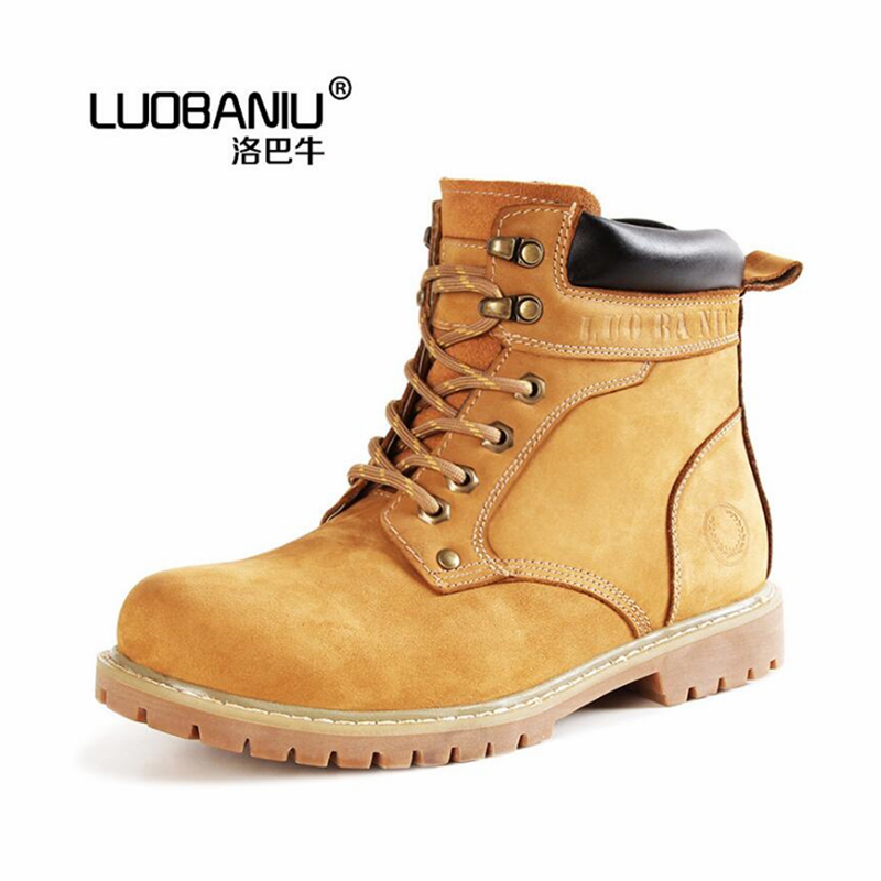 Casual first layer of frosted leather male Martin boots wear rubber soles boots fashion star rhubarb boots classic tooling boots men shoes martin boots genuine leather male fashion casual shoe to help the high wear water resistant tooling boots