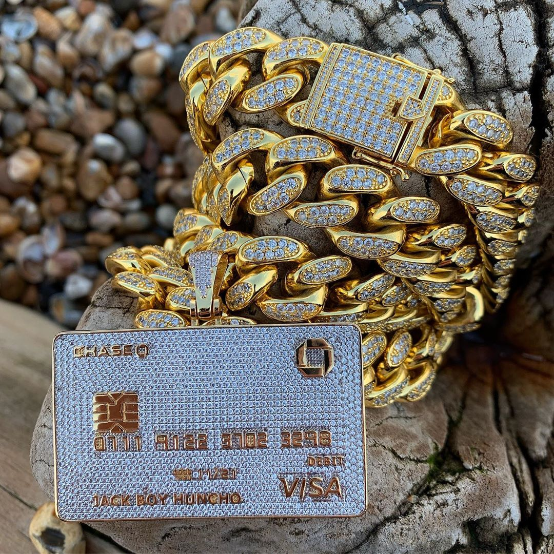 Full Iced Out Credit Card Pendant Necklace Mens Gold Silver Color Hip Hop Jewelry With Tennis