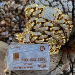Image 1 - Full Iced Out Credit Card Pendant Necklace Mens Gold Silver Color Hip Hop Jewelry With Tennis Chain Charm CZ Jewelry Gifts