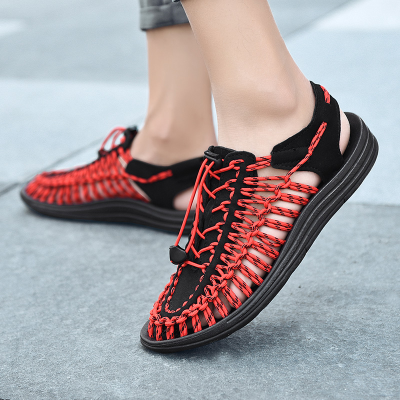 677ba559a55 New 2019 Summer Men Sandals Fashion Handmade Weaving Design Breathable  Casual Beach Shoes Unique Brand Sandals For Men 1988