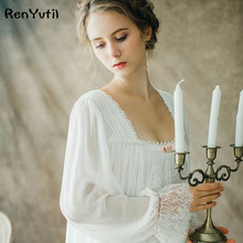 Фотография RenYvtil Women Sleepwear Gown Lace Nightgown Gorgeous Elegant Sleepwear Princess Dress Women Bridesmaid Lace Gowns High Quality