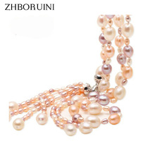 Fashion Long Multilayer Pearl Necklace Freshwater Pearl Necklace Tassel Mix Colour 925 Sterling Silver Jewelry For Women Gift